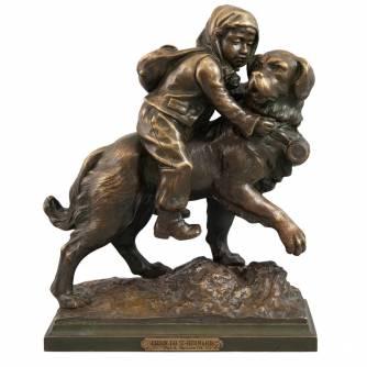 Gaudez, Adrien Etienne (1845-1902) Скульптура «Сенбернар, спасающий ребенка»