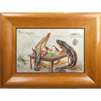 Клевер Юлий Юльевич (сын) (1882-1942) «Рыбы и рак, играющие в карты»