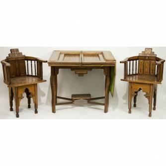 Столик и два кресла для игры в шашки, шахматы и нарды. Западная Европа. Начало ХХ в.
