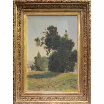 Картина «Пейзаж с деревьями у озера»