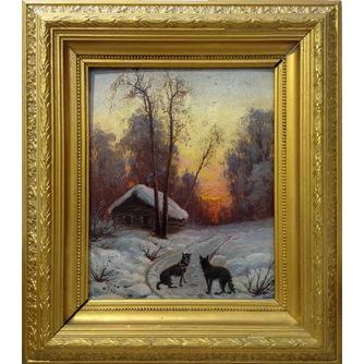 Оболенский Николай Николаевич (1838-1899) «Волки у деревни»