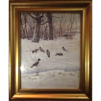 Картина «Вороны на снегу»
