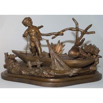 """Статуэтка """"Мальчик-рыбак в лодке"""""""
