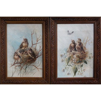 """Парные картины """"Птицы в гнезде"""""""