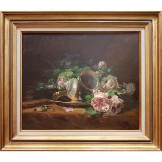 "Sophie Pir (1858 -1936) ""Натюрморт с розами и ракушкой"""