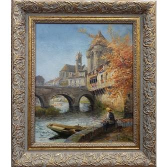 Осень. Рыбак на берегу канала.