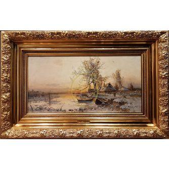 """Клевер Юлий Юльевич (1850-1924) - Клевер Юлий Юльевич (1850-1924) """"Хуторок зимой"""""""