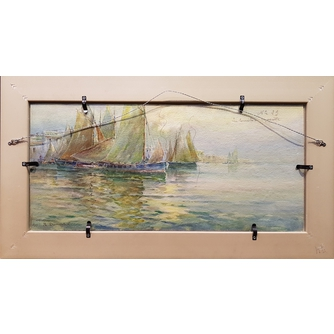 R. Dumonteil-Lagr (XIX-XX вв.) парные акварели «Морские пейзажи с парусниками»