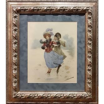 Giuseppe Aureli (1858-1929) «Катание на коньках»
